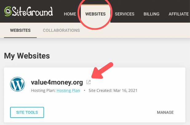 SiteGround My Website